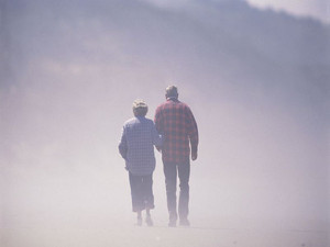 Old couple in fog