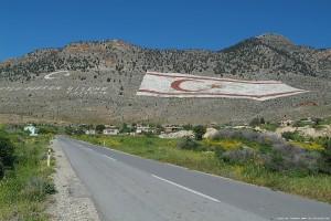 Turkish Republic of Northern Cyprus Flag on mountain.