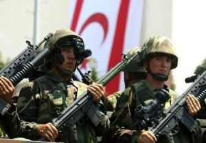 Turkish soldiers take part in a ceremony