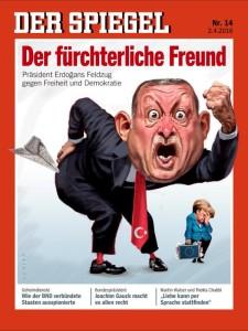 Πρόσφατο εξώφυλλο του γερμανικού Der Spiegel, με γελοιογραφία του Ερντογάν, σε σχέση με τη μανία του εναντίον του αντιπολιτευόμενου τύπου.